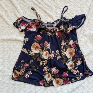 Navy and wine floral cold shoulder top